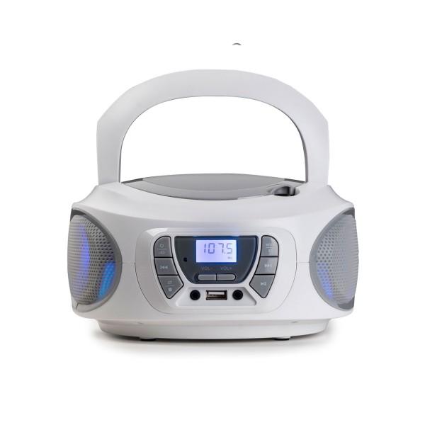 Fonestar boom-one-b blanca/ radio cd / 4w / reproductor usb/mp3 / radio fm