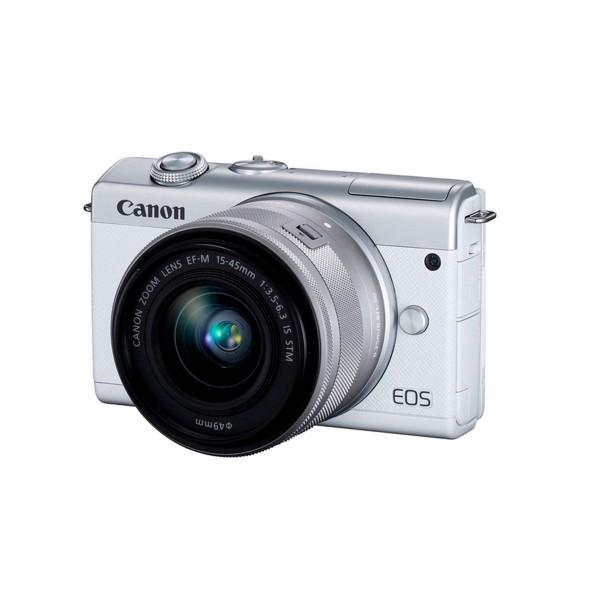 Canon eos m200 blanca/cámara compacta 24.1mp + vídeo 4k/wi-fi/bluetooth/objetivo m15-45s